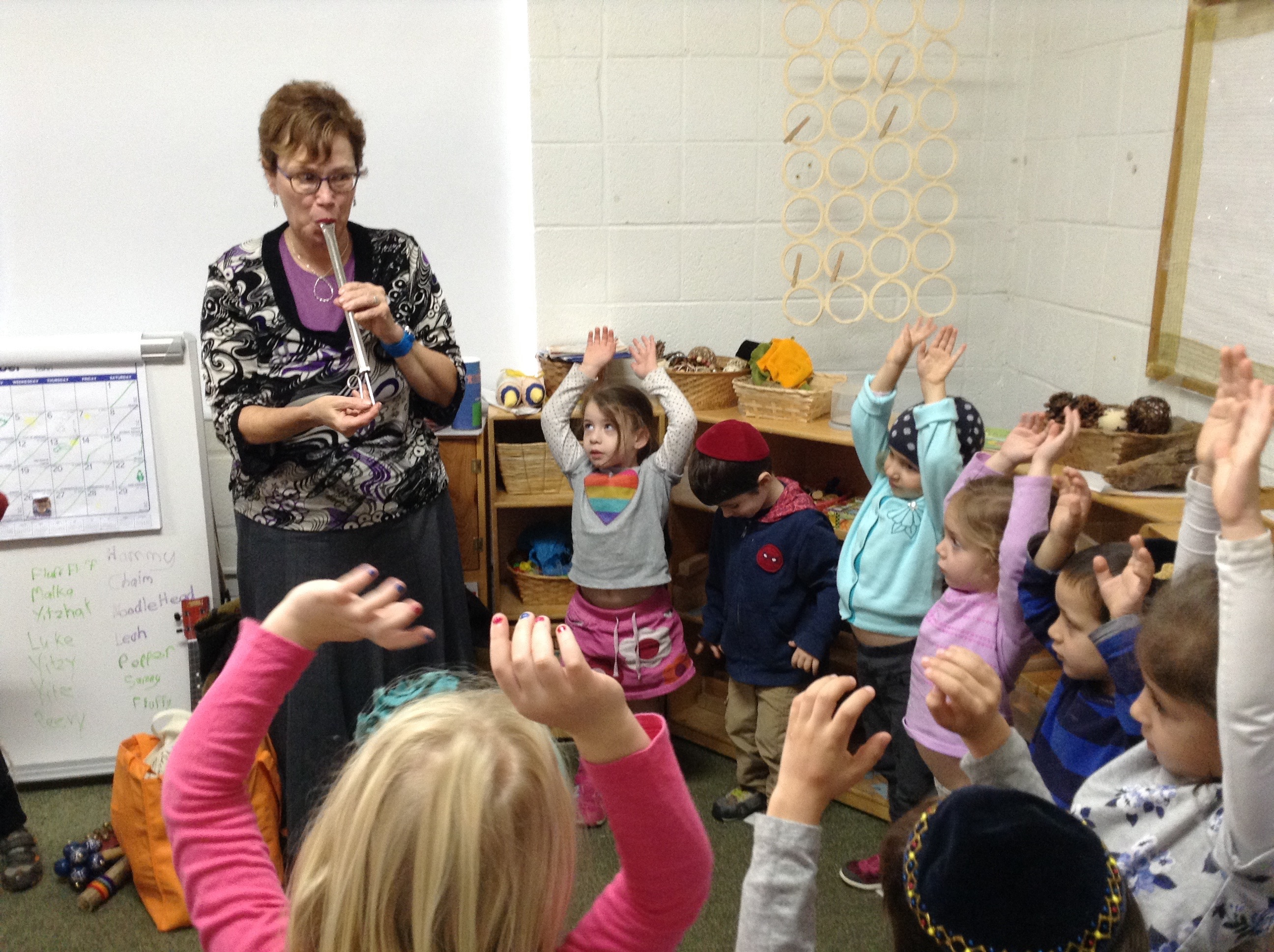 Music appreciation with Mrs. Graber. (Pre-K)