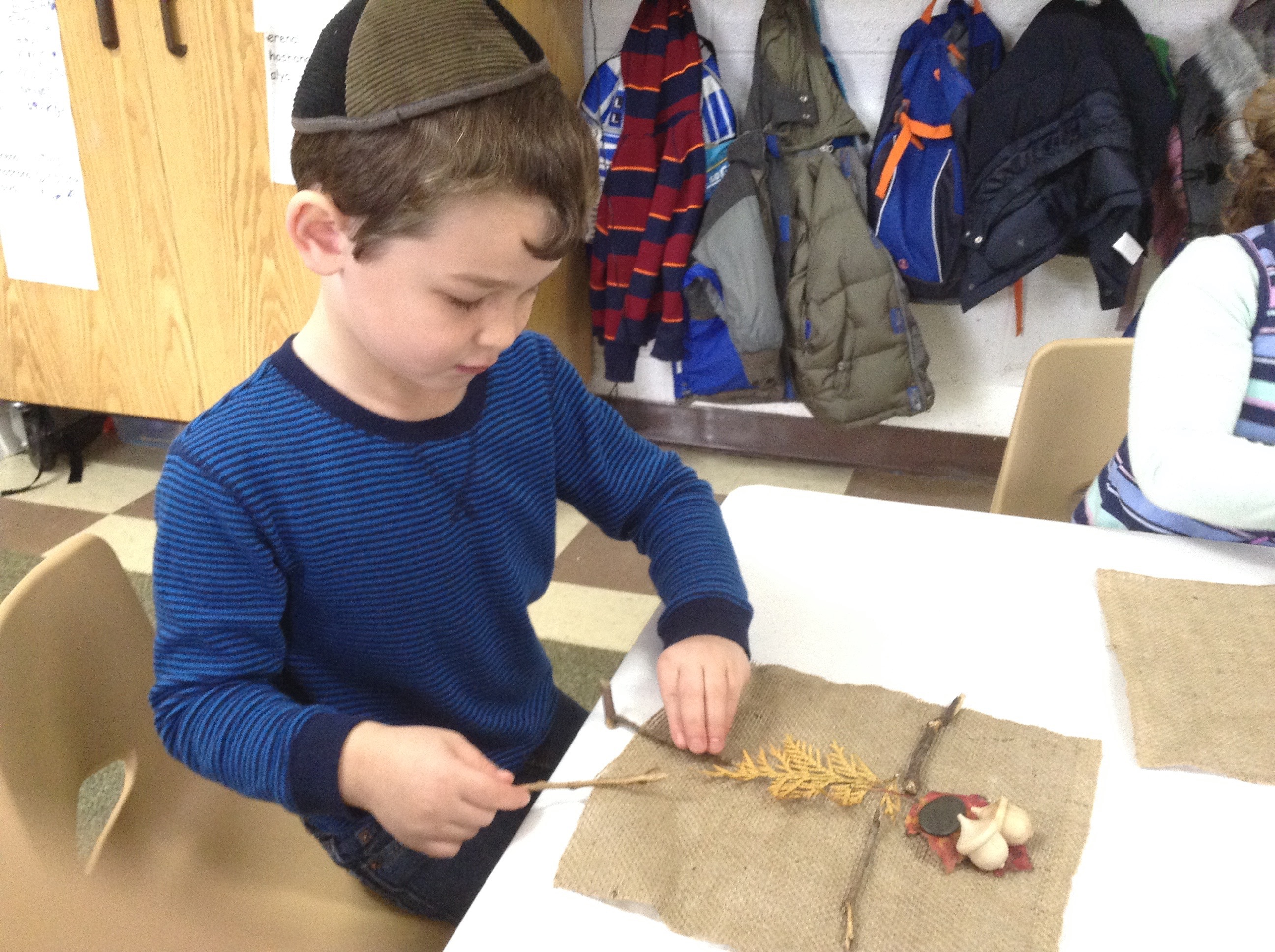Leaf Man self-portraiture using loose parts. (Pre-K)